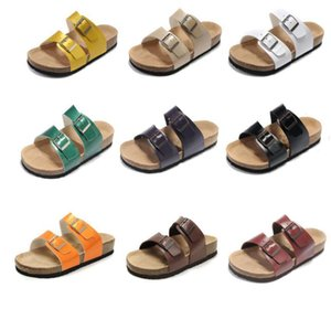2021 Genuine Leather Slippers Mens Flat Sandals Women Shoes two Buckle Fashion design Arizona Summer Beach Top Quality With Orignal Box