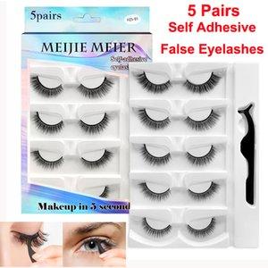 5 Pairs False Eyelashes Self Adhesive Lashes with Tweezer Fake Eyelash Handmade 3D Faux Mink Soft Comfortable Curl Thick Cross Lash Cosmetics Makeup Set