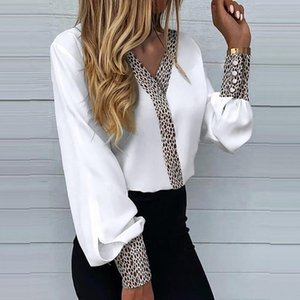 Women's Blouses & Shirts Women Fashion V Neck Patchwork Leopard Shirt Blusa 2021 Spring Summer Office Lady Blouse Casual Long Sleeve Button