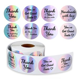 500pcs roll 3.8inch Thank You Sticker Paper Tapes Different Style Kraft Seal Label Stickers DIY Gift Decoration and Cake Baking Package 0254PAC