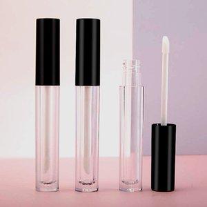 4ml vacío mini contenedores de brillo brillante botellas Tamaño de viaje redondo transparente Botella de plástico recargable con lápiz lipbrush Tapa negra para muestras de carga dividida
