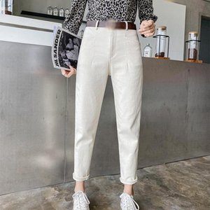 High Waist Beige Women Harem Straight Jeans Pants White Button Pockets Ankle-length Denim Pant For Girls 2021 Korean Japan Style