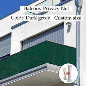 Shade Dark Green HDPE Balcony Privacy Net Fence Shielding Anti-UV Windproof Apartment Protection Terrace Shelter