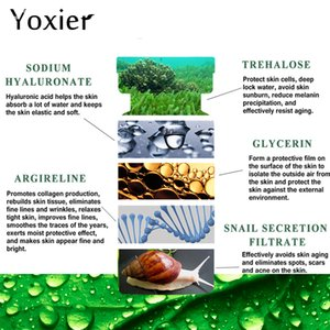 Yoxier 10PCS Snails Serum Six Peptide Hyaluronic Acid Concentrate Blackhead Removing Moisturizing Skin Care Whitening Anti-Aging