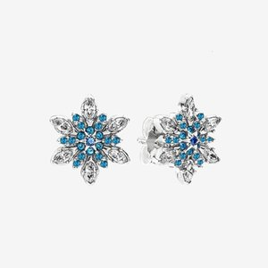 Sparkling Blue snowflake Stud Earring Women Girls Wedding Gift for Pandora 925 Sterling Silver CZ diamond Earrings with Original box