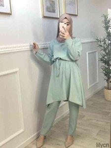 Этническая одежда Рамадан помощь Мубарак Абая Дубай Турция Хиджаб мусульманские наборы платье ислам для женщин ансамбли Мусульман Кафтан халат Femme ede