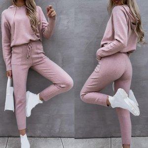 Gym Clothing Sweatshirt Sweatpants Set Activewear Hoodie Pants Women Loose Sporty Solid Color Hooded Top