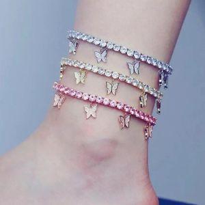 Crystal Zircon Initial Butterfly Ankle Bracelet Alphabet Anklets for Women Foot Chain Beach Leg Bracelets Boho Jewelry