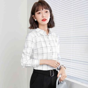 shirts Mode green pink white plaid female shirts long ladies of the office formal shirt tops for business work Spring wear