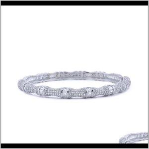Bangle Jewelry Drop Delivery 2021 Bamboo Festival Women Bangles Copper Zirconia Gold Bracelets Jewellery H8Erc