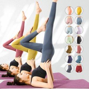 Mujeres de interior Lulu Yoga Leggings de ocio Pantalones deportivos de cintura alta Mujeres levantando caderas gimnasio Lu aptitud medias al aire libre corriendo Legging Alinee Elastic