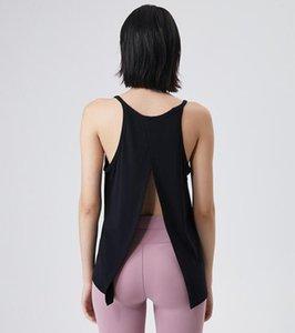 Vest Mulheres Yoga Naked Sentindo Absorção de Umidade da Pele e Perspiração Esportes Blusa Lazer Running Fitness Top Split Back Fashi_sell