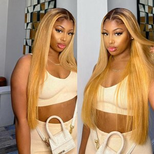 1b 27 Ombre Honey Blonde Lace Front Wigs Transparent Long Straight Hu Hair Wig For Black Women Frontal Pre Plucked