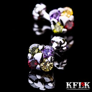 KFLK jewelry fashion brand of shirts cuff links multicolor crystal cufflink luxury wedding button male high quality guests Great workmanship durable and nice
