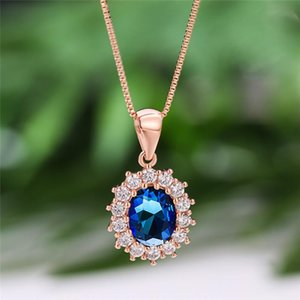 Blue Green Crystal Zircon Pendant Oval Necklaces For Women Vintage Fashion Jewelry Rose Gold Chain Choker Rainbow Stone Necklace