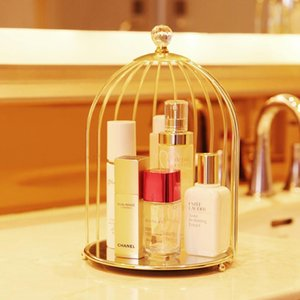 Nordic Iron Cosmetic Desktop Display Box Transparent Makeup Organizer Birdcage Shape Glass Tray Dressing Table Finishing Rack Jewelry Pouche