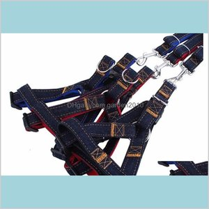 Dog Collars & Leashes Supplies Pet Home Garden Leads Harness Leash Adjustable Jeans Denim Cloth Cat Rope Belt Collar Dogs 3 Colors For