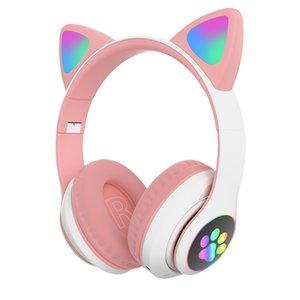 Auriculares de la oreja de gato LED Luz Bluetooth Bass Ruido Cancelación Adultos Niños Chica Auriculares Soporte TF Tarjeta Casco Mic Regalo de los niños