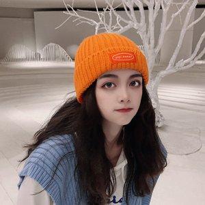 Шляпы Caps Mensiveral вязаная шерстяная шляпа, женская осенняя и зимняя этикетка, корейский хип-хоп бобы