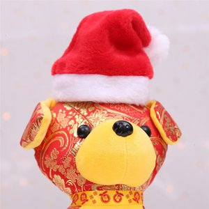 Dog Pets Hats Xmas Small Plush Santa Pet Cat Hat Merry Christmas Decorations For Home Cap Happy New Year Gift GWB2369