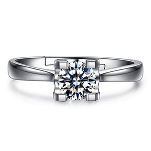 Factory New S925 pure silver diamond ring with one and six claws IVHZ