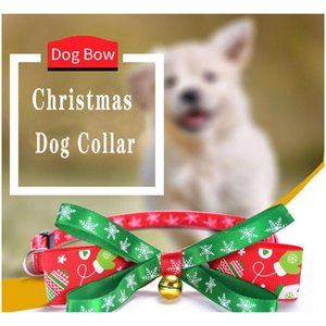 Collars Leashes Dog Home & Garden Drop Delivery 2021 Christmas Woven Knot Gold Sier Bell Bow Tie Cat Collar Pet Supplies Wholesale 65Ftp