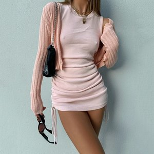 Sexy Hirigin Ribbed Mini Shoulder Dress Off Party O Neck Train Knit Club Tank Bodycon Short Women Summer dresses