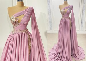 2021 Plus Size Arabic Aso Ebi Lace Beaded Sexy Prom Dresses One Shoulder Chiffon Evening Formal Second Reception Gowns ZJ275