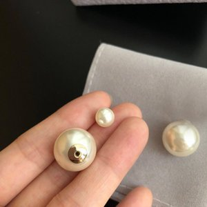 Fashion Have stamps pearl stud earrings aretes for lady women Party wedding lovers gift engagement jewelry Bride