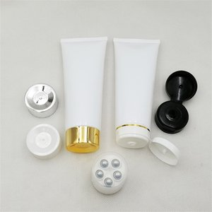 Empty 200g White Squeeze Bottle Cosmetic Container 200ml Face Lotion Hand Cream Packaging Plastic Refillable Tube 1160 V2