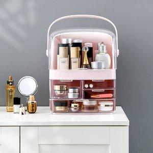 Yüksek kaliteli Toz Geçirmez Kozmetik Depolama Kozmetik Çanta Şeffaf Taşınabilir Masa Cilt Bakım Ürünleri Çekmece Tipi Raf