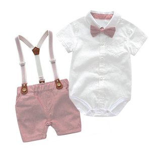 Clothing Sets Baby Boy Infants Born Clothes Shorts Sleeve Tops+Overalls 2PCS Outfits Summer Bebes
