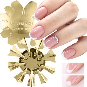 PerfectionsNail Art Edge Metal Trimmer Nail Form French Trim Smile Line V Shaped Cutter Clipper Template Tools All for Manicure NL1834-1