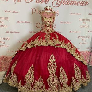 Red Princess Quinceanera Dresses With Gold Lace Appliqued Sheer Jewel Neck Sweet 16 Dress Corset Sweep Train Satin Masquerade Gowns