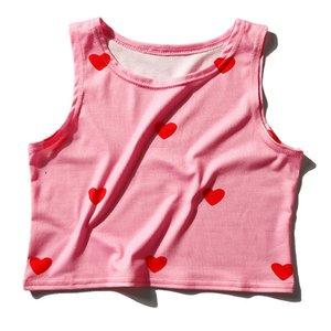 Summer Crop Top Shirt Women Kawaii Tank Tops Love Heart Polka Dot Print Clothing Cute Girl's Sleeveless Cropped Tanktop