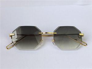 Occhiali da sole Vintage Piccadilly Irregalare Rimless Diamante Taglio Lente Retro Moda Avanguardia Design UV400 Colore leggero Colore Estate Occhiali da estate 0116 con scatola