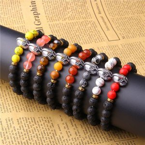 Gold Color Roman Knight Spartan Warrior Gladiator Helmet Bracelet Men Black Stone Bead Bracelets For Jewelry Beaded, Strands