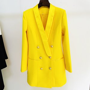 Women's Suits & Blazers est Designer Long Lion Buttons Double Breasted Satin Shawl Collar Dress Fluorescent Yellow YGEC