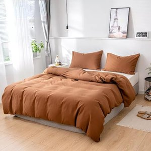 Bedding Sets 2 3 Piece Nordic High Quality Solid Color Style Twin Size Set,Duvet Cover220x240 200x200,Use For Bedroom Brown Purple