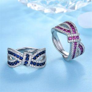 Choucong Brand Unique Handmade Wedding Ring Luxury Jewelry 925 Sterling Silver Blue Sapphire CZ Diamond Gemstones Eternity Women Cross Band Belt Rings Gift