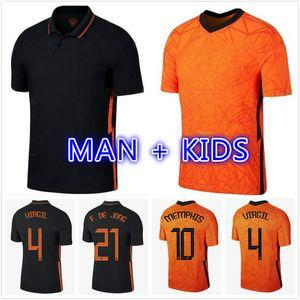 Van De Beek Virgil Jersey 2021 2022 Wijnaldum de Jong Camisas de futebol 20 21 Stotman memphis Promes Homens + Kit Kids uniformes