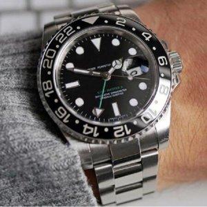 Lüks GMT Mens 2813 Otomatik Hareketi İzle Kendinden Rüzgar Erkekler Mekanik Tasarımcı Saatler Moda Spor SS Saatı Kol Saati