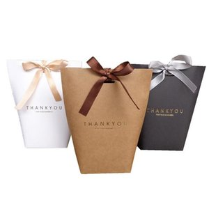 Event Festive Home & Garden Drop Delivery 2021 Merci Thank You Baking Jewelry Carton Paper With Bow Shopping Bag Festival Party Supplies Gift