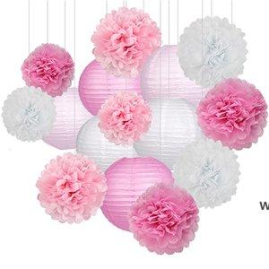 15 adet / takım Kağıt Çiçek Topları POMS Kağıt Petek Topları Kağıt Fenerler Doğum Günü Partisi Düğün Bebek Duş Ev Dekorasyon DHD6070