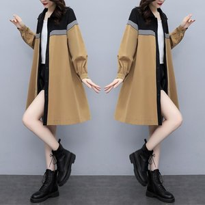 Women's Trench Coats Spot 2021 Autumn Clothes Loose And Thin Fashion Foreign Style Medium Long Color Matching Single Breasted Windbreaker Co