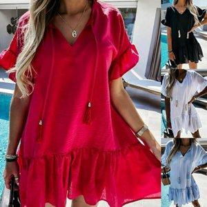 Женские летние с коротким рукавом V-образным вырезом темперамент мода многоцветные середины платья