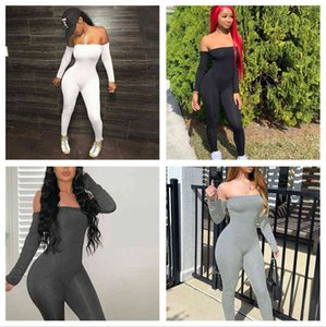 Women's Jumpsuits & Rompers Direct export clothing net color one line shoulder long sleeve hip lifting and foot binding casual fashion one-p