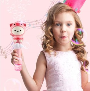 In Stock 4 Styles Automatic Bubble Machine Flashing Music Cartoon Cute Animals Novel Light up Wand Colorful Soap Bubbles Outdoor Toys DHL Free