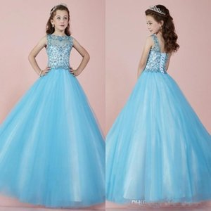 2021 Light Sky Blue Lovely Long Girl's Pageant Dresses Sheer Crew Neck Beaded Crystals Corset Back Tulle Princess Flower Girl Dresses