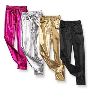 Autumn Korean Reflective Texture Children's Leggings Tight Girls Trousers Children Golden Pants M3867